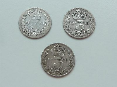 1877 1903 1909 SILVER 3d THREEPENCES