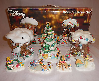 Disney Christmas in the 100 Acre Wood 8 Piece Porcelain Lighted Village Pooh