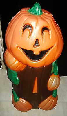 "35"" VTG HALLOWEEN Blow Mold JOL PUMPKIN MAN Scarecrow ELECTRIC YARD LIGHT TPI"
