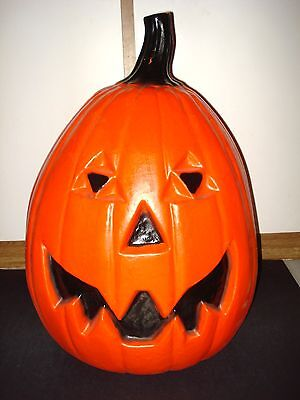 "24"" Universal VTG 1988 Halloween Blow Mold Plastic JOL PUMPKIN LIGHT Yard Decor"