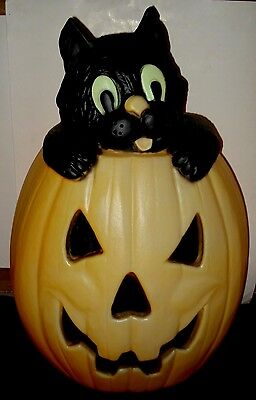 "27"" VTG HALLOWEEN Blow Mold BLACK CAT JOL PUMPKIN Yard Lawn Electric Light TPI"