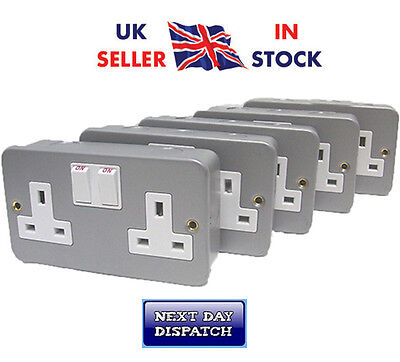 Metal Clad Double/Twin 2 Gang Socket Swiched 13amp x5