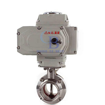 "2"" Stainless Steel 304 Sanitary Motorized Butterfly Valve Tri Clamp 220VAC"