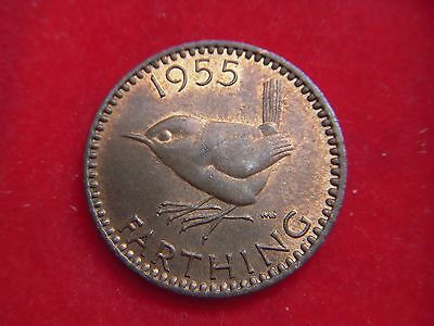 1955 Elizabeth 11 Farthing In A Very High Grade With Lustre   [R7]