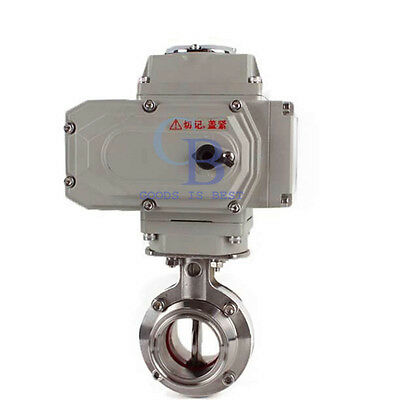 "4"" Stainless Steel 304 Sanitary Motorized Butterfly Valve Tri Clamp 220VAC"