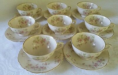8 Syracuse Stansbury Federal Shape Cup& Saucer Sets ~ Pinks Flowers Gold Trim