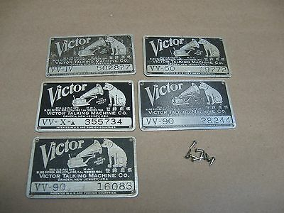 Vtg Victor Victrola Phonograph Parts Lot 5 Serial Model # Plates VV 90 50 IV Xa