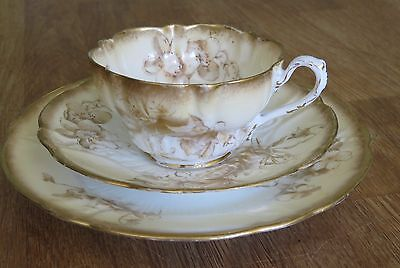 Art Deco Teacup George Jones Cresent English Bone China Trio Ivory Gold Frilled