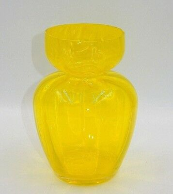 "Vintage Bright Yellow Topaz Glass 6.25"" Ribbed Vase"
