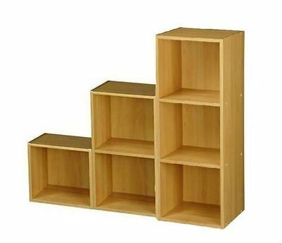 Beach Effect Wooden 1,2,3 Tier Step 6 Cube Bookcase Display Storage Shelving Set