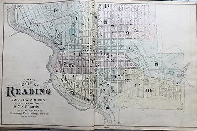 Orig 1876 A.m. Davis Reading, Pennsylvania Berks County Fair Grounds Atlas Map