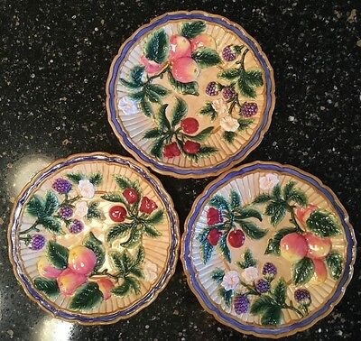 Fitz And Floyd (3) Three French Orchard Fruit Heavily Embossed Plates