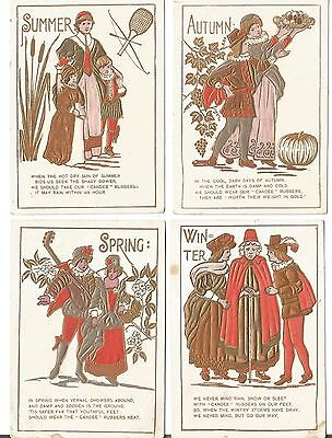 Old Advertising Cards Winter, Summer,Spring Fall CANDEE Shoes Moweaquas, IL Good
