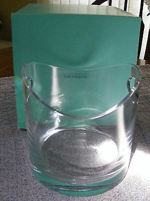 TIFFANY & CO Crystal Modern Champagne Wine Bottle Cooler Ice Bucket Etched