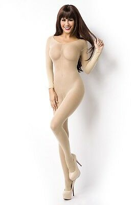 Netzbody Catsuit Bodystocking ouvert hautfarbig - 14854