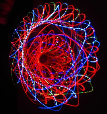RED BLISS LED Microlight Rave Orbital Trip Toy - LARGE ring grips Adjust. Length
