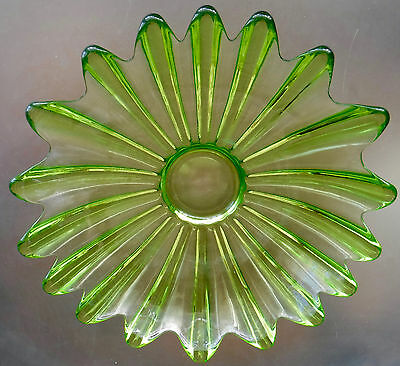 Vintage Green Fluted Glass Fruit Dish Decorative Bowl Plate Asymmetric