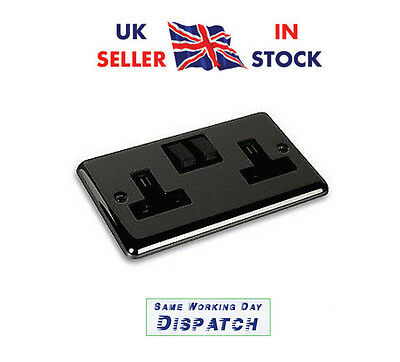 10x Black Nickel Double Twin Plug Socket Switched 2 Gang 13amp Round Edge DP