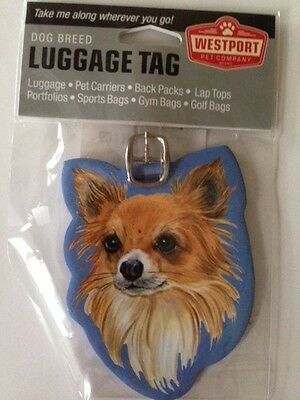 Long Haired Chihuahua Dog Luggage Tag Baggage Identifier Vacation Westport New