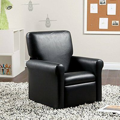 Juvenile Urban Vinyl Recliner w/ Stitch Pattern Great for Any Child Room - Black