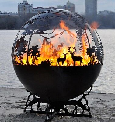 Forest 90 Fireball Log Burner Pit Sphere Solid Steel Patio Heater Bbq Design