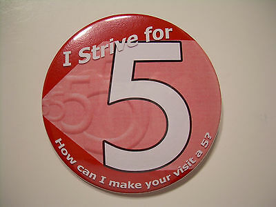 """Strive For 5 RED Buttons  - 100 Piece Lot - New - 3"""" Round"""