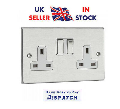 10x Brushed / Satin Chrome Double 2 Gang Twin Wall Socket 13amp White Inserts DP