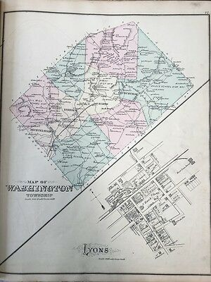 Original 1876 A.m. Davis, Berks County, Pa, Washington Township Lyons, Atlas Map