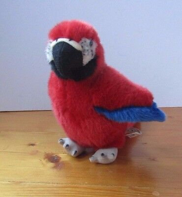 """Small soft toy Parrot Macau Plush 7"""" Red Blue"""