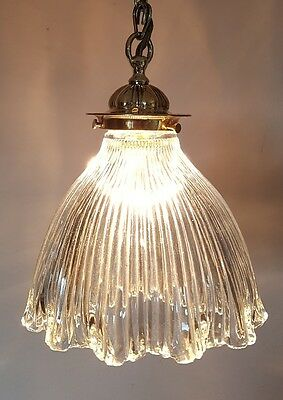 Edwardian Antique Brass Holophane Ceiling Lamp Light