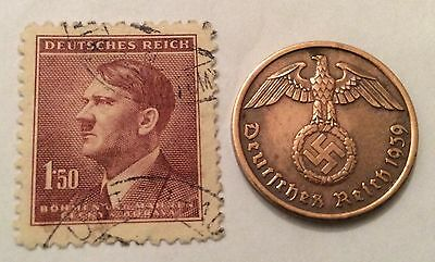 nazi  coin  + Hitler stamp * buy 2 coins & get more 3 different stamps