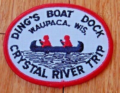 Vintage Ding's Boat Dock CRYSTAL RIVER TRIP Canoe WAUPACA Wisconsin Patch