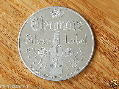 Vintage Whiskey GLENMORE Silver Label GOOD LUCK Silver Buck Token