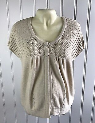 Motherhood Maternity XL Cardigan Sweater Short Sleeve Beige Crochet