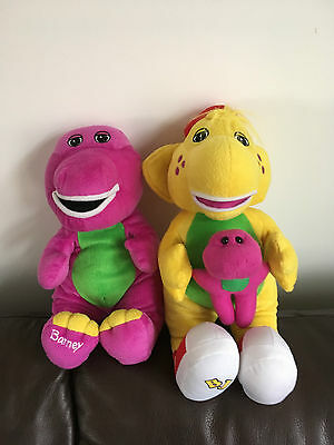 Purple Barney and Yellow BJ from Barney Dinosaur Soft Plush Hug Toy Teddys