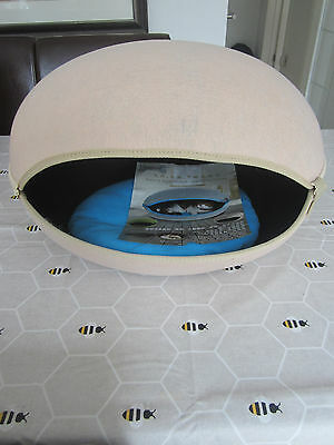 Beige Egg Cave Shape Pet Dog Cat Bed Winter Warm House -  Removable Washable UK