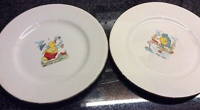 Vintage Nursery Ware China Plates Antique Made In England Duck & Frog