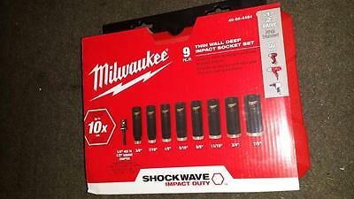 "Milwaukee 49-66-4484 Wrench Impact Sockets Shockwave 9 Piece 3/8""~3/4""1/2- 2015"