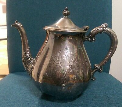 Van Bergh Silverplate Co. art deco tea coffee pot rochester NY pre-owned scroll