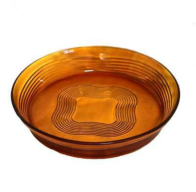 Vintage French large amber glass bowl 28cm across & 5cm tall. Lovely thing