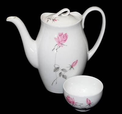 Vintage Johnson Brothers Snowhite pink rose pretty coffee pot and sugar bowl