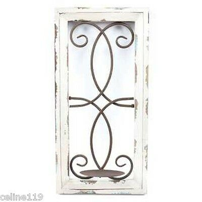 Antique Cream Distressed Finish Wood and Metal Wall Candle Holder New!
