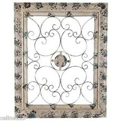 """Metal Wall Art with Floral Center Shabby Chic Home Wall Panel Decor XXL 40"""""""