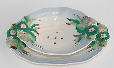 Vintage Clarice Cliff WATER LILY/LILY POND Berry or Lettuce Strainer & Plate