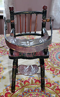 """PrettyAntique Vintage Wood 13"""" Doll High Chair Hand Painted Swing Back Tray RARE"""