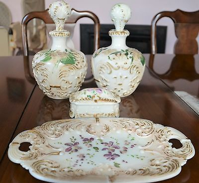 Antique Victorian Hand Painted Floral MILK GLASS 2 Decanter Bottles 1Box & 1Tray