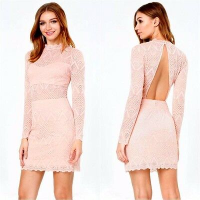 $149 NWT bebe lace top dress XS S M L coral long sleeve mock neck open back top