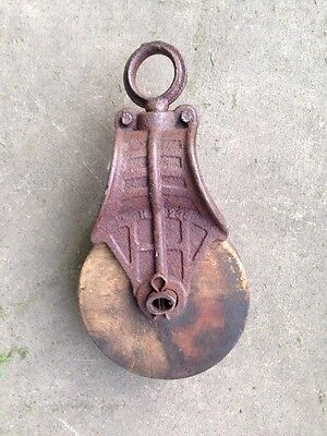 Antique Cast Iron and Wood Pulley Vintage Primitive Steampunk H236