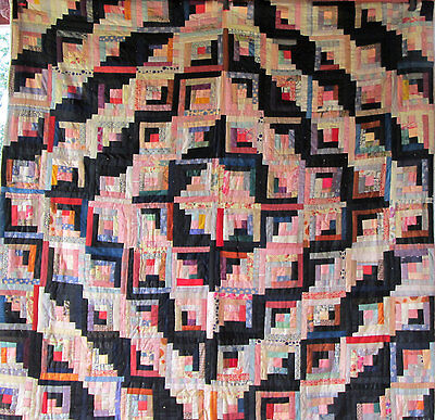 Antique LOG CABIN BLOCK Vintage Quilt Work of Art Amazing Fabrics