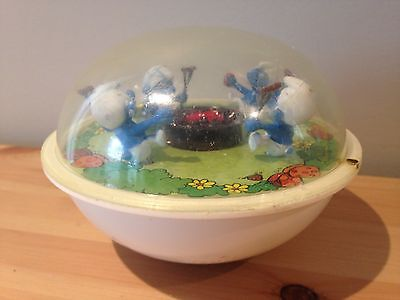 Vintage 1982 SMURF ILLCO Baby Toy PEYO Made in Hong Kong RARE Campfire Hot Dogs